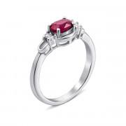 Серебряное кольцо с рубином и фианитами (Тд0007/руб-R)