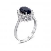 Серебряное кольцо с сапфиром и фианитами (Тд0004/сап-R)