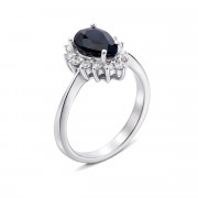 Серебряное кольцо с сапфиром и фианитами (Тд0003/сап-R)