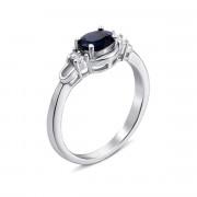 Серебряное кольцо с сапфиром и фианитами (Тд0007/сап-R)
