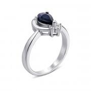 Серебряное кольцо с сапфиром и фианитами (Тд0017/сап-R)