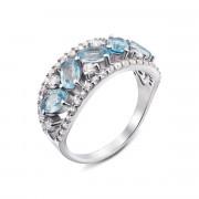 Серебряное кольцо с топазом и фианитами (1601/9р)