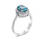 Серебряное кольцо с топазом и фианитами (Тд0010/топsw-R)