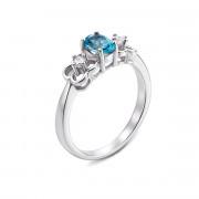 Серебряное кольцо с топазом swiss и фианитами (Тд0009/топsw-R)