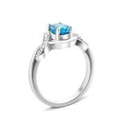 Серебряное кольцо с топазом swiss и фианитами (Тд0060/топsw-R)