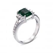 Серебряное кольцо с зеленым кварцем и фианитами (1656/9р)