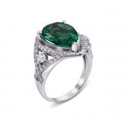 Серебряное кольцо с зеленым кварцем и фианитами (1675/9р)