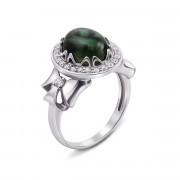 Серебряное кольцо с зеленым кварцем и фианитами (1710/9р)