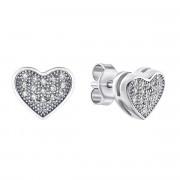 Серебряные пуссеты Сердце с фианитами (PSS0698ES)