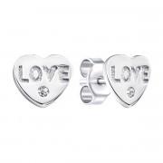 Серебряные пуссеты Сердце с фианитами (SC4863E)