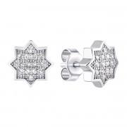 Серебряные пуссеты Звездочки с фианитами (FC145E)