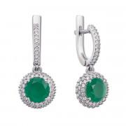Серебряные серьги-подвески с зеленым агатом и фианитами (2058/9р)