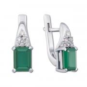 Серебряные серьги с зеленым агатом и фианитами (2155/9р)