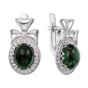 Серебряные серьги с зеленым кварцем и фианитами (2203/9р)