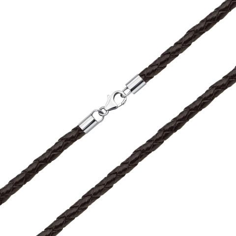 Ювелірний шнурок зі шкіри з срібними вставками (1NE404731/кор-L)