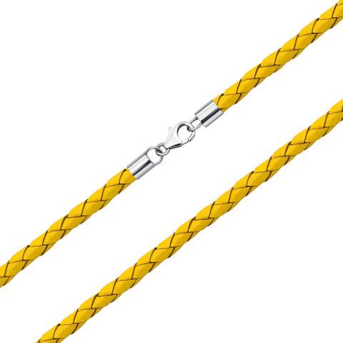 Ювелірний шнурок зі шкіри з срібними вставками (1NE404731/ж-L)