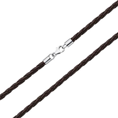 Ювелірний шнурок зі шкіри з срібними вставками (1NE404732/кор-L)
