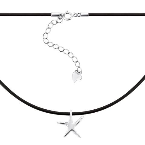 Кольє з каучуку зі сріблом Морська зірка (Кл2/916)
