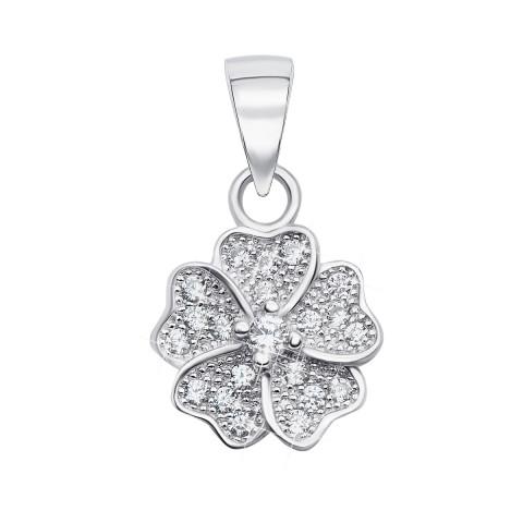 Срібна підвіска «Квітка» з фіанітами (PSS0673-P/12/1)