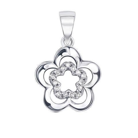 Срібна підвіска Квітка з фіанітами (SC5022P)