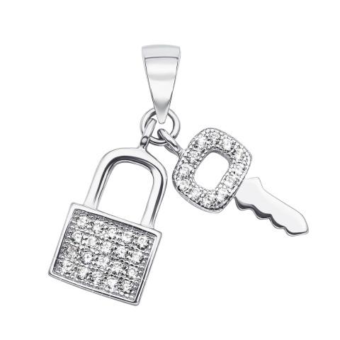 Срібна підвіска «Ключик з замочком» з фіанітами (SA7094-P/12/1)