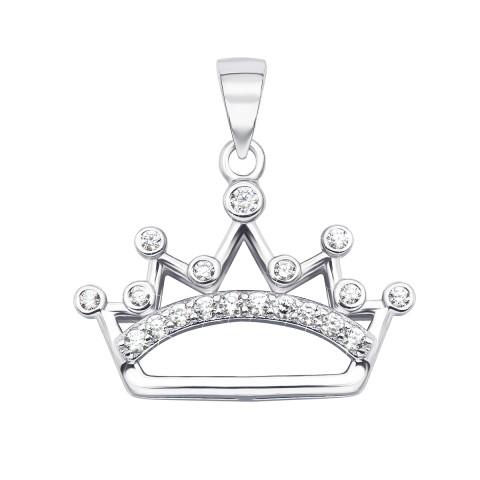Срібна підвіска «Корона» з фіанітами (PP1088-P/12/1)