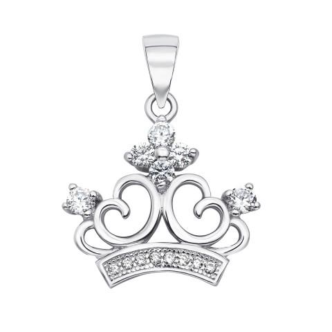 Срібна підвіска «Корона» з фіанітами (SA8775-P/12/1)