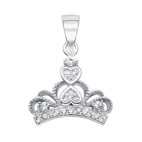 Срібна підвіска «Корона» з фіанітами (SA8848-P/12/1)