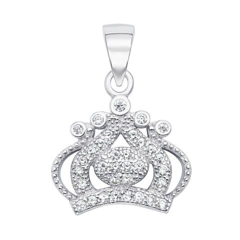 Срібна підвіска «Корона» з фіанітами (SA8855-P/12/1)