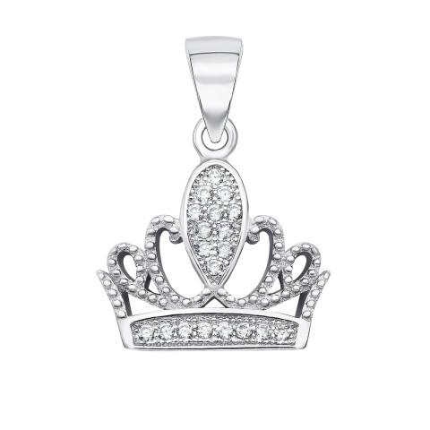 Срібна підвіска «Корона» з фіанітами (SA8859-P/12/1)