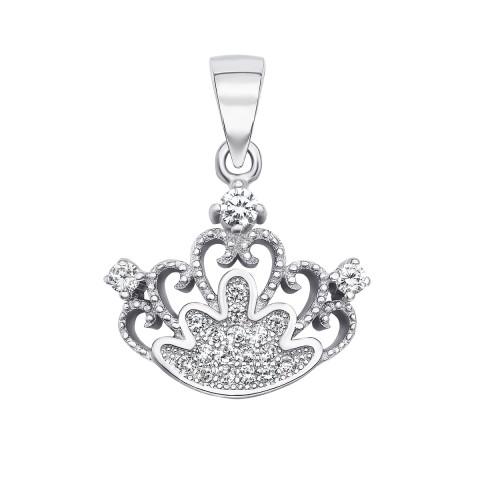 Срібна підвіска «Корона» з фіанітами (SA8860-P/12/1)