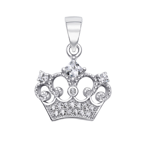 Срібна підвіска Корона з фіанітами (SA8862-P/12/1)