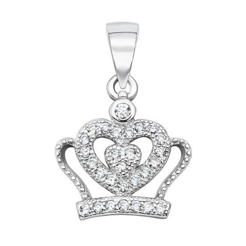 Срібна підвіска «Корона» з фіанітами (SA8878-P/12/1)