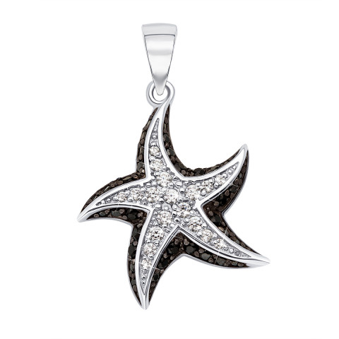 Срібна підвіска «Морська зірка» з фіанітами (70260/12/1/631)