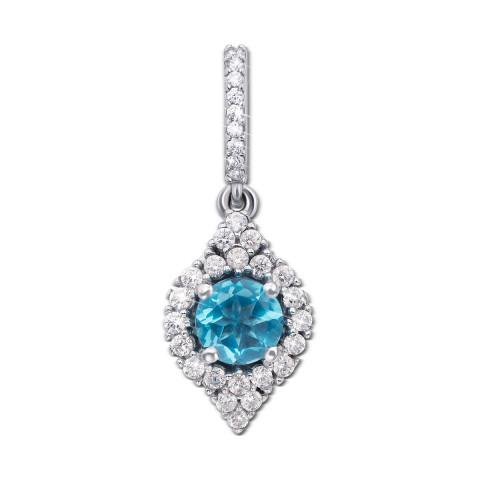 Срібна підвіска з блакитним кварцом і фіанітами (3674р)