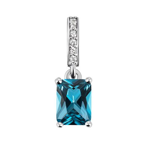 Срібна підвіска з кварцем London blue та фіанітами (3900р-QLB)