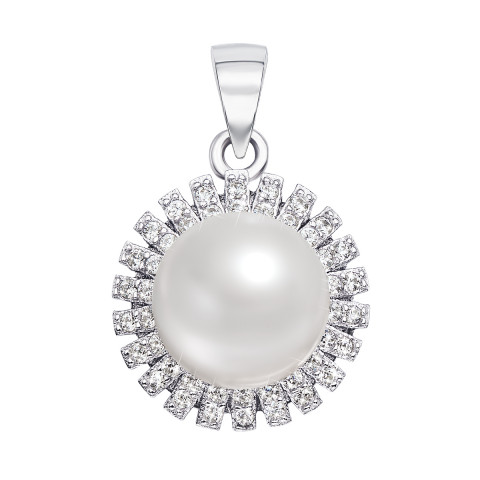 Срібна підвіска з перлиною і фіанітами (PSS0243-P)
