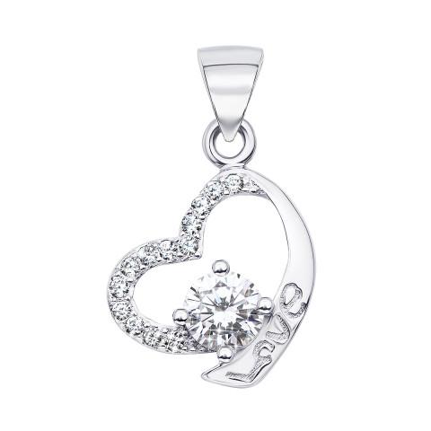 Срібна підвіска «Серце» з фіанітами (1PE44911-P/12/1)