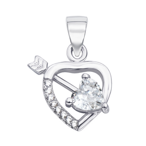 Срібна підвіска «Серце» з фіанітами (1PE45235-P)