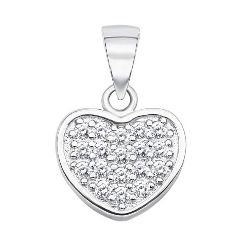 Срібна підвіска «Серце» з фіанітами (ES0050EP-P)