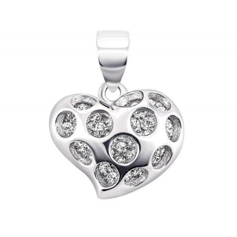 Срібна підвіска Серце з фіанітами (GP9570)