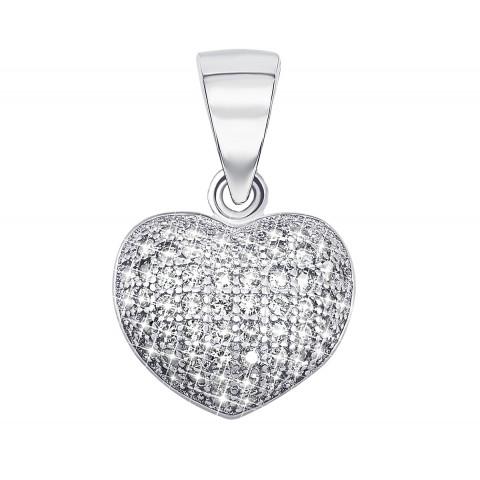 Срібна підвіска Серце з фіанітами (PPS1723)