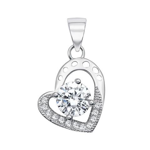 Срібна підвіска «Серце» з фіанітами (PSS0701-P)