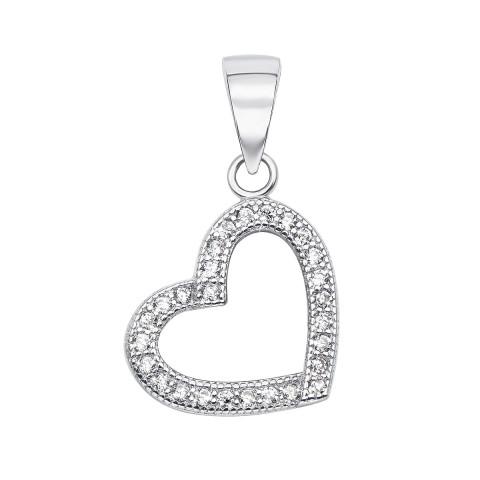 Срібна підвіска «Серце» з фіанітами (SA7301-P/12/1)