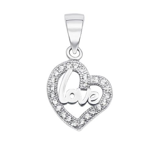 Срібна підвіска «Серце» з фіанітами (SA7309-P/12/1)