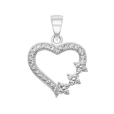 Срібна підвіска «Серце» з фіанітами (SA8804-P/12/1)