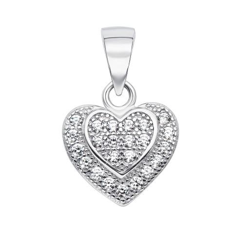 Срібна підвіска «Серце» з фіанітами (SA9128-P/12/1)