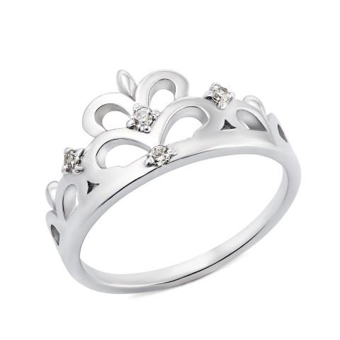 Срібна каблучка Корона з фіанітами (00282/12/1/46 (с00282)