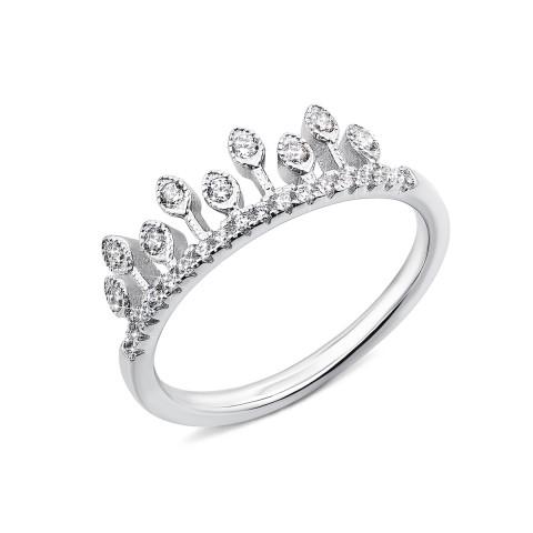 Срібна каблучка «Корона» з фіанітами (1RI60131-R)