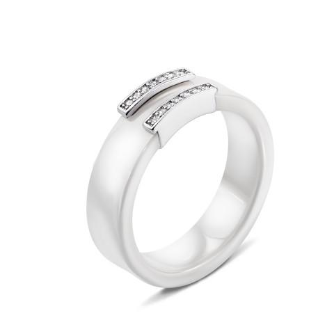 Срібна каблучка з керамікою і фіанітами (К2ФК1/1012-16.5)